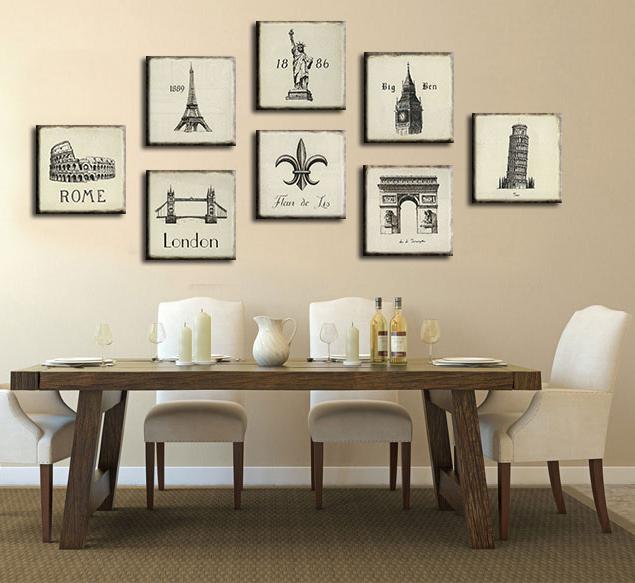 简约复古欧式建筑装饰画现代客厅画沙发背景墙画电表