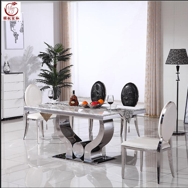 不锈钢餐桌餐台高档大理石面后现代简约创意热卖饭桌