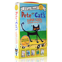 英文原版绘本I Can Read my first Pete the Cat 5本too cool for school at the beach I love my white shoes皮特猫系列3-5-6岁