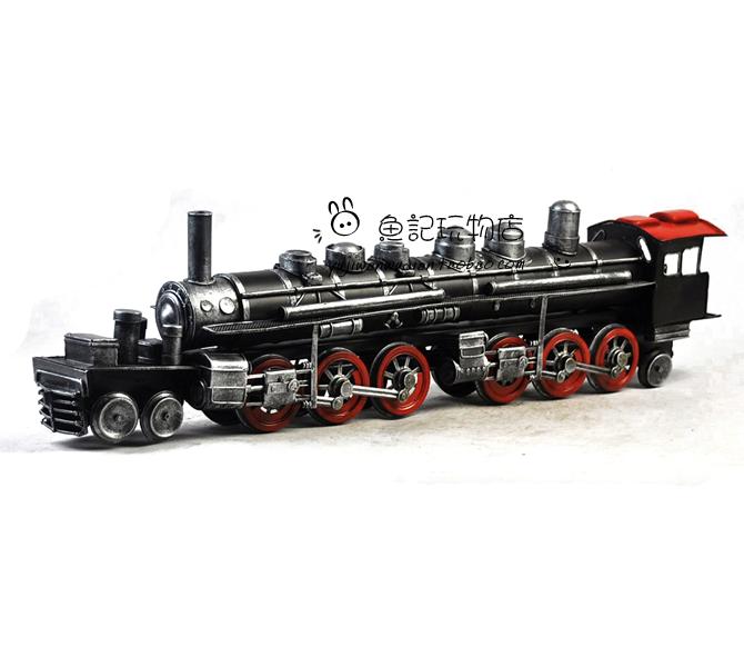 老式蒸汽火车头模型 复古做旧铁皮工艺品装修摆件送