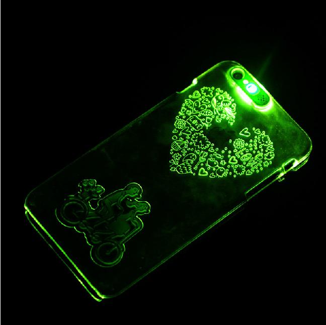 苹果5个性男女情侣闪光手机壳iphone5/5s透明来电闪防摔硬变色壳