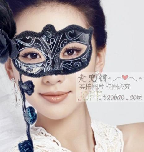 舞会面具手持面具羽毛花手工彩绘公主面具半脸眼罩