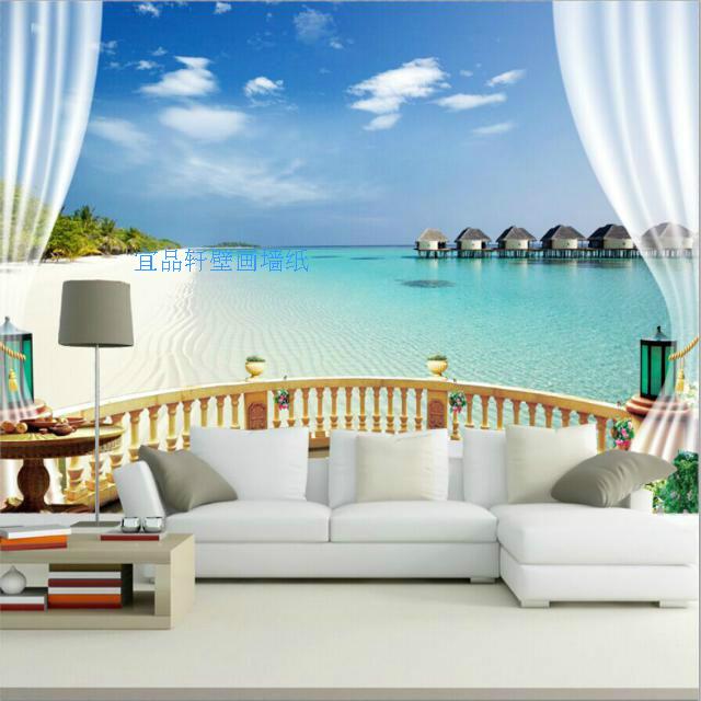 假窗东南亚大型壁画风景墙纸海洋沙滩电视背景墙客厅