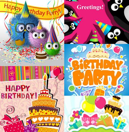 搞笑卡通生日快乐卡片背景模板素材
