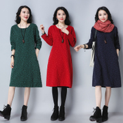 Autumn new loose big code fashion hundred-cotton jacquard long dress women retro show thin national Wind