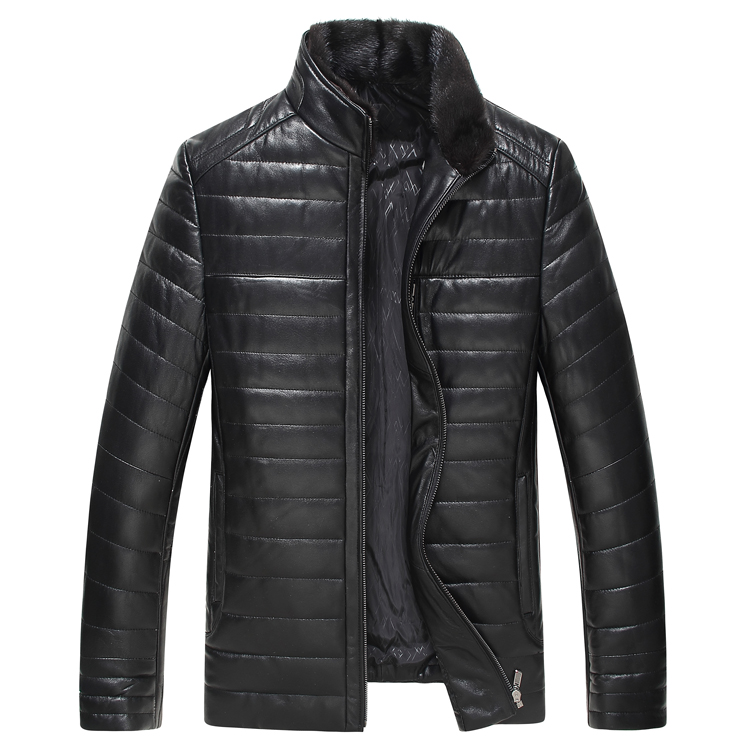 In the winter of 2016 new men's leather padded down sheep leather Mink Collar long windbreaker leather in the elderly