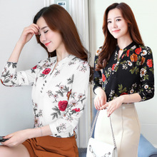 Small Floral Chiffon shirt blouse Korean autumn small fresh thin long sleeved shirt sleeves