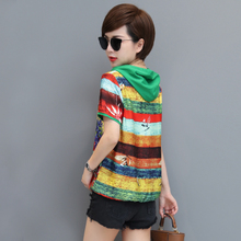Autumn than the 2018 new summer chiffon elegant flower coat super fairy loose cover stomach thin chiffon shirt women short sleeve