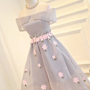 2017 new spring bridesmaid dress in the long skirt of a pair of sisters and sisters in the gray color of the evening dress