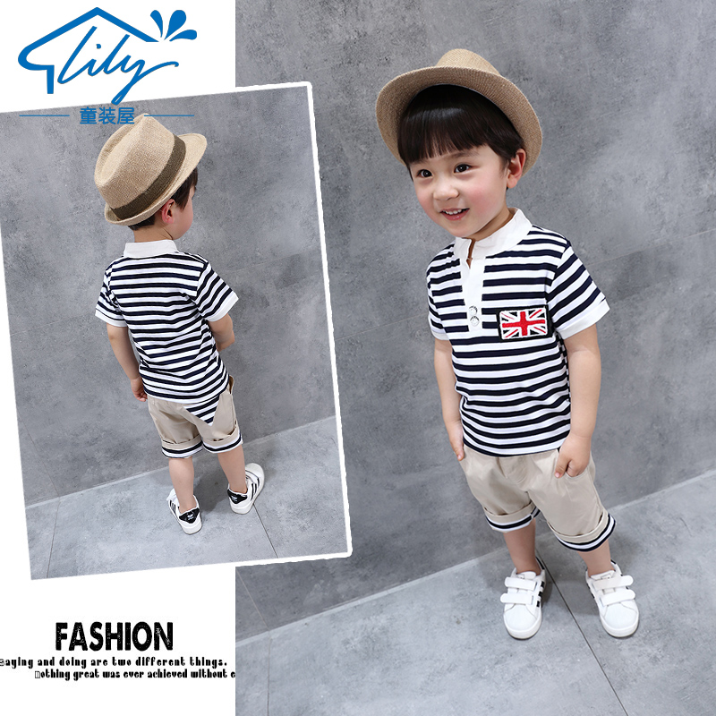 Children's wear 2017 summer paragraph, cute, handsome short sleeved suit, 1-5 year old boy, baby, short sleeve, short sleeve