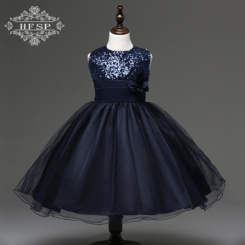女童花童公主连衣裙欧美亮片花朵蓬蓬裙礼服童裙女童童表演裙黑色