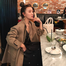 TKSTYLE custom 2018F/W early autumn oversize loose glossy collar chic small suit suit jacket