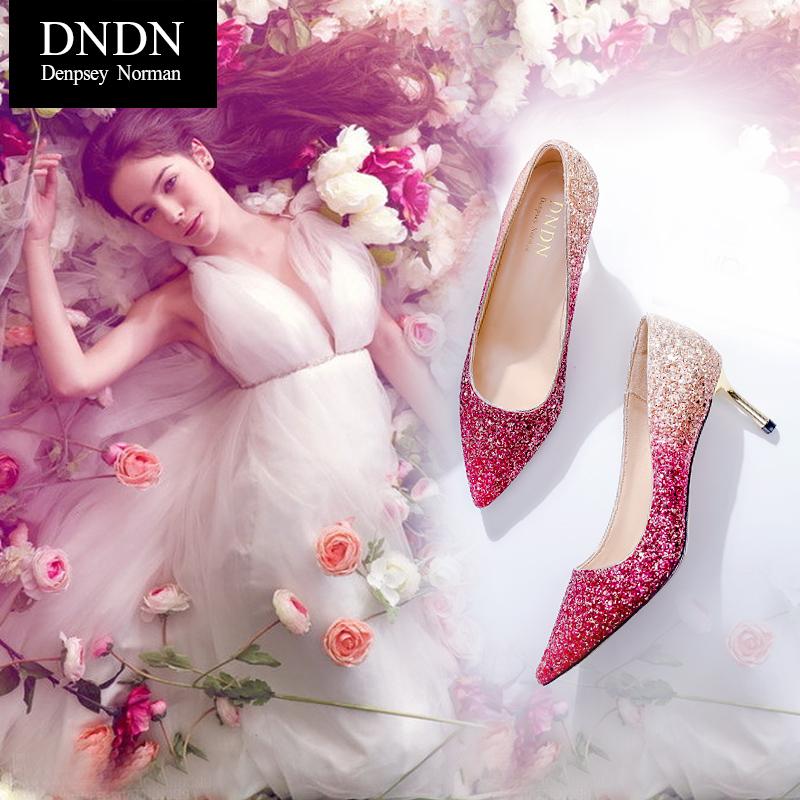 尖头亮片高跟鞋水晶婚鞋女2017新款冬季红色细跟结婚纱伴娘新娘鞋