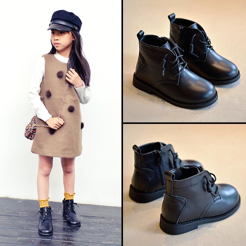 2017新款儿童鞋马丁靴真皮百搭女童小短靴中大童秋冬韩版男童靴子