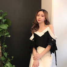 Sexy Camisole shirt Korean female chic wind in spring tide loose all-match Lantern Sleeve Chiffon shirt shirt