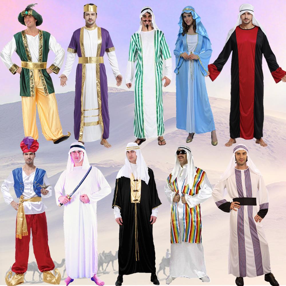 阿拉伯人的服飾特點是:穿長袍,戴頭巾,以白色為主.圖片