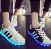 Autumn and winter light colorful shoes for men and women students a Korean version of the LED lamp luminous shoes shoes USB charging light shoes