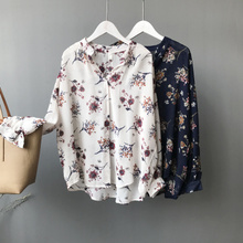2017 early autumn new literary printing shirt woman's loose thin coat was thin all-match Ou Han