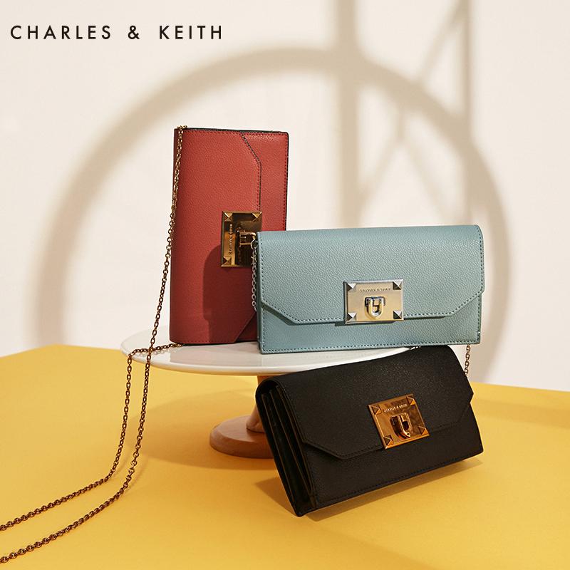 CHARLES&KEITH 长款钱包 CK6-10840133 纯色金属链条女士钱包