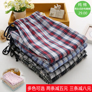 Men and women in spring and summer cotton gauze thin Plaid trousers loose cotton pajamas Home Furnishing lovers