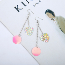 Xu Lu Red Star Earrings Korean female temperament sequined long earrings earrings exaggerated fresh girl