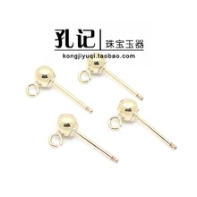 Confucius L United States Import 14K Gold Pack Round Ball Bead Belt Circle Stud Earrings Earrings DIY Accessories Material Accessories