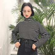 The spring and autumn Korean women all-match loose turtleneck long sleeved striped T-shirt shirt blouse T-shirt slim students tide