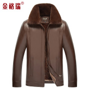 The new winter middle-aged man big fur collar jacket dad jacket plus velvet in elderly male PU thick leather