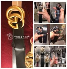 Genuine purchasing Gucci Gucci belt leather double G retro classic embossing Gucci new men and women casual belt