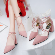 Korean version of the new 2017 pointed pink high-heeled shoes with thick bandage with all-match sandals female students in Rome in autumn