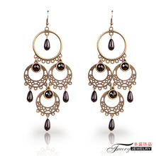 The original European and American popular retro generous fashion personality female long earrings earrings jewelry trade goods in Yiwu
