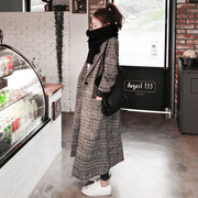 Korean winter soft sister all-match cocoon thick wool coat lattice Plover in the long thin woolen coat girl