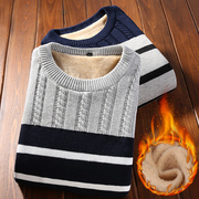 Thickened autumn and winter men's sweaters Korean trend Slim boys plus velvet collar youth knit sweater winter sweaters