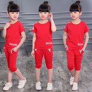 Girls summer suit 2017 new children in child Korean girl short sleeved sport in summer two piece suit