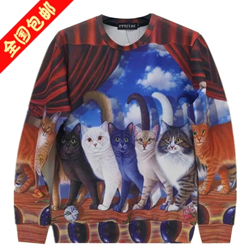 Tide brand in autumn and winter long sleeved pullover 3D Harajuku cat design stage Harajuku hoodies coat couples dress for men and women