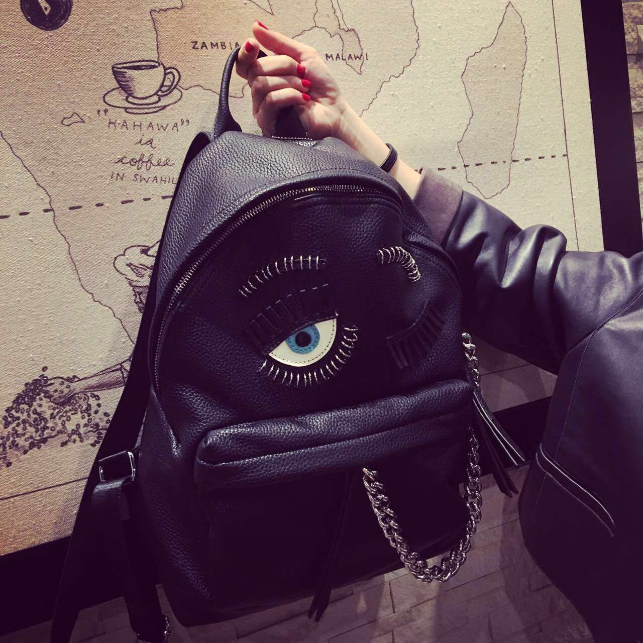 眨眼大眼睛睫毛小怪兽双肩包女个性潮韩版链条创意男背包欧美街头