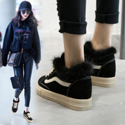 Increased plush shoes female winter wear 2017 new Korean version of Joker casual shoes women plus velvet shoes