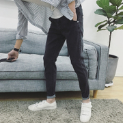 The fall of the new stretch jeans young men slim feet type Korean students Haren pants men's trousers trend