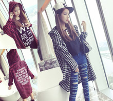 In the autumn of 2017 new Korean loose hooded long sleeved shirt in plaid shirt coat dress tide letter