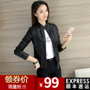 The fall of 2017 Korean women's new female motorcycle leather short Pu coat collar slim slim leather jacket