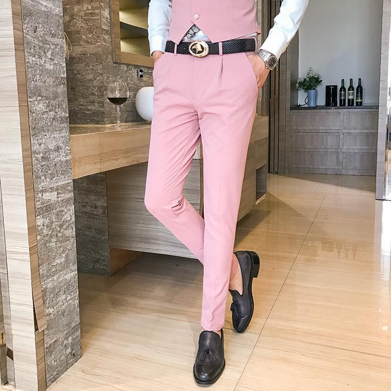 男士小脚休闲裤男秋冬韩版修身西装裤男式裤子发型师粉色裤子男潮