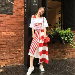 夏装2018新款女韩版套装裙子心机短袖露肩连衣裙小清新时尚两件套