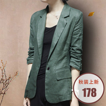 Spring and autumn linen suit female thin 2018 summer new seven-point sleeves Slim casual cotton small suit large size coat