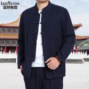 Spring and autumn in the old male costume linen suit shirt size Chinese autumn leisure father put Hanfu