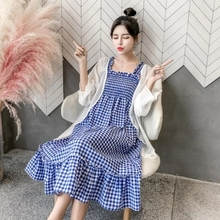 Pregnant women summer suit fashion models 2018 new pregnant women dresses pregnant women skirts in the summer long two-piece