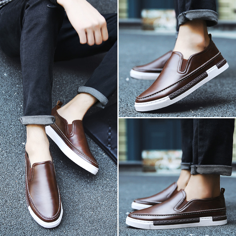 The British men's spring loafer male leather casual shoes pedal Korean youth lazy sb