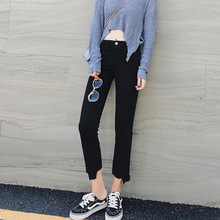 South Korea based solid real autumn pants irregular trousers pants waist micro speaker nine female x263a