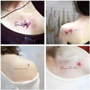 Tattoo waterproof female Korean small fresh and lovely flowers and lasting English clavicular ankle tattoo simulation