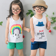 The boy in the Korean girls suit vest Shorts Shirt for children children's summer sleeveless cotton baby clothes