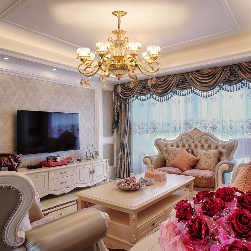 法雕全铜欧式吊灯奢华大气家用客厅灯现代水晶灯简约美式餐厅灯具
